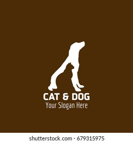Animal Logo. Cat engraved in a White Dog. Animal logo Concept. Brown Background