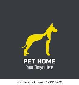 Animal Logo. Cat engraved in a Yellow Dog. Animal logo Concept