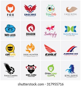 Animal logo collection, Bird, Eagle, Pet care, dragon, butterfly, cat, deer, horse, monkey symbol.