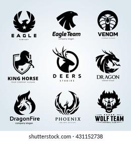 Animal Logo collection , Eagle, Venom, Horse, Deer, Dragon, Phoenix, Wolf, vector symbol