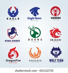 Animal Logo collection Signature with  Eagle, Snake, Venom, Horse,Dragon, Wolf, Phoenix, Deer Brand mark.