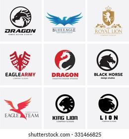 Animal Logo collection,Dragon Logo,Eagle Logo,Royal logo,Lion Logo,Horse logo,vector Logo template
