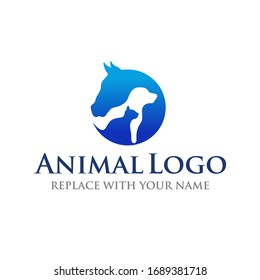 Animal logo with horse dog and cat icon