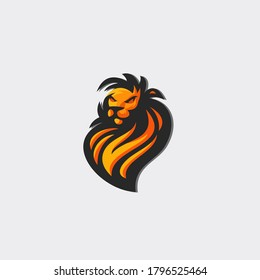 Animal logo with lion head and orange color