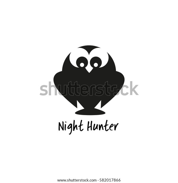 Animal logo. Owl silhouette icon. Simple emblem of bird night hunter isolated. Freehand drawn sign cute style. Stylized abstract symbol. Vector element of wildlife background