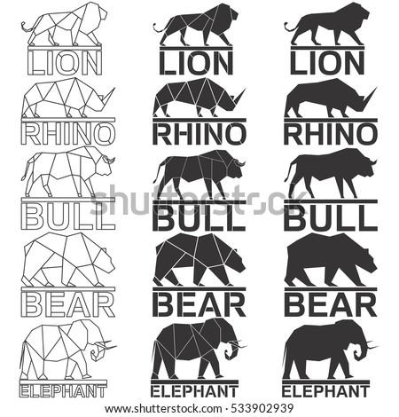 Animal logo set Lion