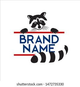Animal logo, vector illustration of raccoons, black & white
