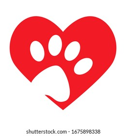 Animal love concept graphic with heart icon and animal foot print