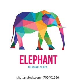 ANIMAL LOW POLY LOGO ICON SYMBOL TRIANGLE GEOMETRIC ELEPHANT POLYGON