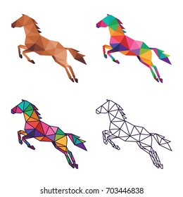 ANIMAL LOW POLY LOGO ICON SYMBOL TRIANGLE GEOMETRIC HORSE POLYGON