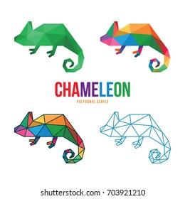 ANIMAL LOW POLY LOGO ICON SYMBOL TRIANGLE GEOMETRIC CHAMELEON POLYGON SET