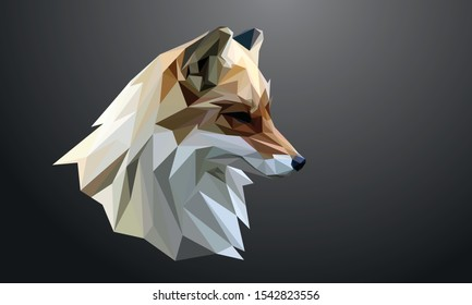Animal Low poly vector head of a Fox in high detail. Right view. With Dark background. EPS 10.