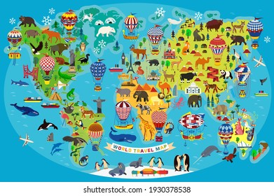 Animal Map of the World with Air Balloons for Children and Kids. Vector Illustration.