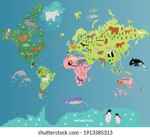 animal map of the world with for children and kids, vector flat illustration, cartoon poster