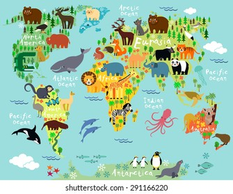Animals world map images stock photos vectors shutterstock animal map of the world for children and kids gumiabroncs Choice Image