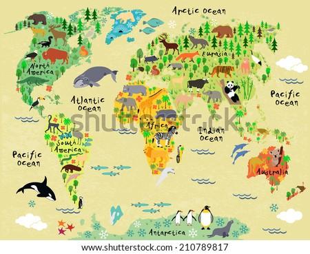Animal Map World Children Kids Stock Vector Royalty Free 210789817