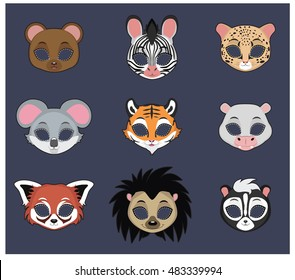Animal mask set 2 for Halloween and various festivities
