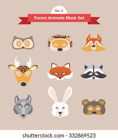 animal mask set- forest animals- set no. 2