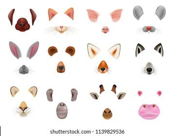 Animal mask vector animalistic masking face of wild characters bear wolf rabbit and cat or dog on masquerade illustration set of carnival masked costume monkey masquer isolated on white background