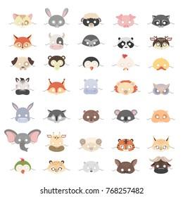 Animal masks set for holidays and carnival.