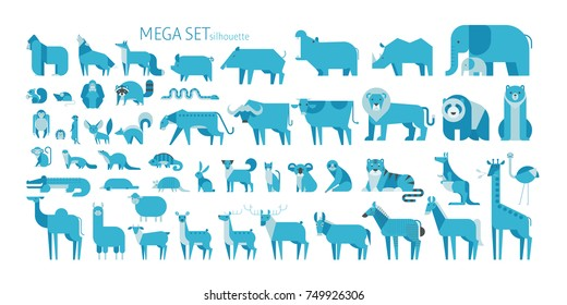 Animal mega set side view pose. mammal land based wildlife animals. geometric vector illustration flat design