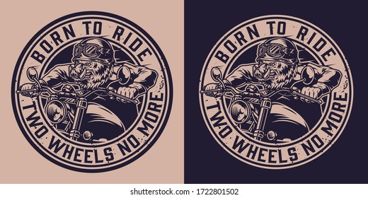 Animal moto rider vintage badge with ferocious wild boar head biker riding motorcycle in monochrome style isolated vector illustration