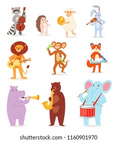 Animal music vector animalistic character musician lion or rabbit playing on musical instruments guitar and violin illustration set of elephant or monkey with drum isolated on white background