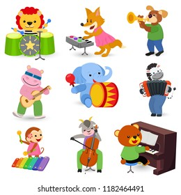 Animal music vector animalistic character musician lion or dog playing on musical instruments guitar and piano illustration set of elephant or monkey with drum isolated on white background