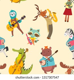 Animal musicians pattern. Vector seamless texture with cute animal band in cartoon style.