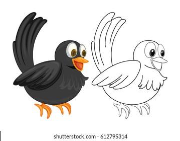 Animal outline for crow illustration