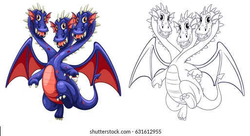 Animal outline for three headed dragon illustration