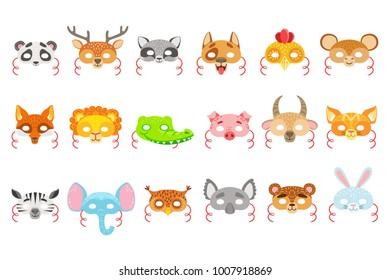 Animal Paper Masks Set Of Icons
