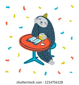 Animal party. Lazy sloth party. Cute sloth sitting at a table with book and wine. Vector illustration