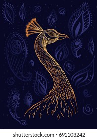 Animal pattern. Vector illustration. Sketch for book page. Bird of paradise. Phoenix.Gold head of peacock on the dark blue watercolor background with arabian paisley.