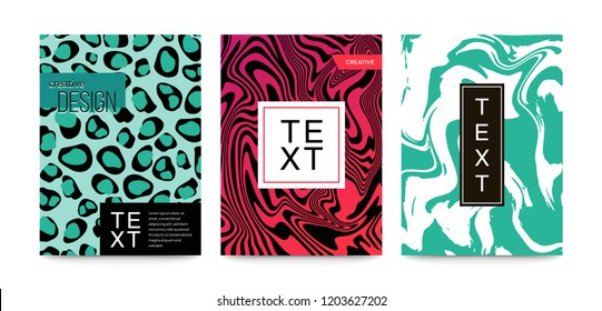Animal patterns set zebra, leopard, snake, tiger, snow leopard. Marble texture. Fluid art. For design covers, presentation, invitation flyers annual reports posters and business cards