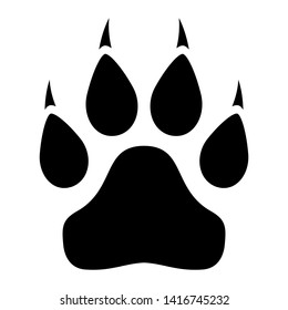 Animal paw icon with claws isolated on white background