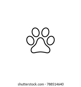 Animal paw icon print line vector foot dog cat illustration