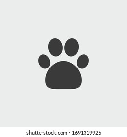 animal paw icon. animal paw vector on gray background