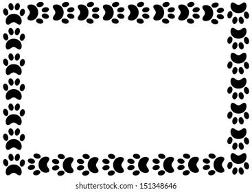 Animal Paw Print Border. Vector