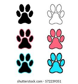 Animal paw print pixel icons