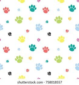 Animal Paw Print Seamless Colorful Pattern Background