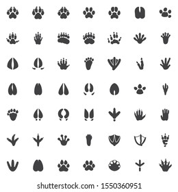 Animal paw print vector icons set, modern solid symbol collection, Animals footprints filled style pictogram pack. Signs, logo illustration. Set includes icons as Dog Fox Bear, Raccoon, Badger, Monkey