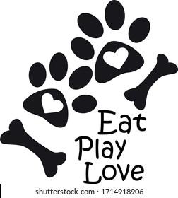 Animal Paw Silhouette, Heart, bone, vector, illustration