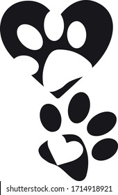 Animal Paw Silhouette, vector, illustration