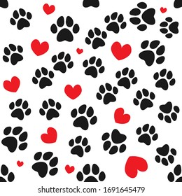 Animal paws and hearts seamless pattern. Vector drawing.