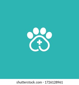 Animal and Pet Logo Designs. Ikon lintas pertolongan pertama Paw. Vector silhouettes of cat and dog on the poster for veterinary shop or clinic. Pets care Logo Symbol design Illustration.
