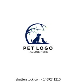 animal and pet logo with tree logo templates