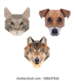 ANIMAL PET POLYGONAL POLY CAT DOG WOLF ICON LOGO TEMPLATE SET