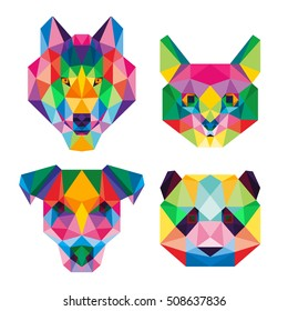 ANIMAL PET POLYGONAL POLY POP COLOR WOLF CAT DOG PANDA ICON LOGO TEMPLATE SET