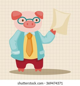 animal pig doctor cartoon theme elements